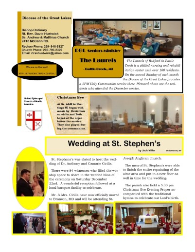 Epiphany Newsletter 2019 - Diocese of the Great Lakes, page 2
